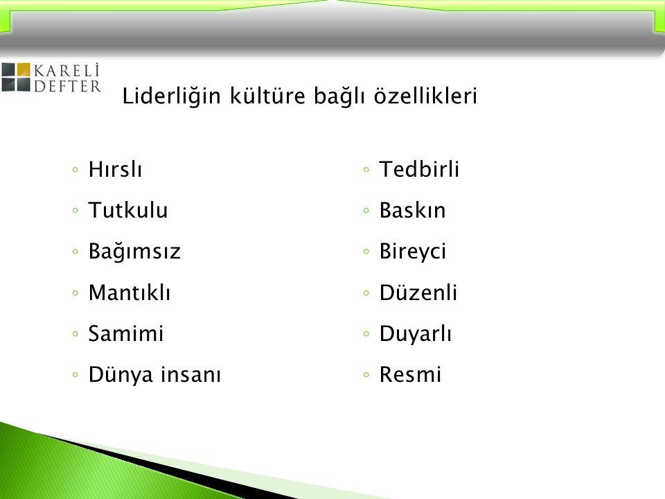  Türk kültürüne bağlı liderlik özellikleri… ◦ İş birliği sağlamak ◦ İkna etmek ◦ Statü merakı ◦ Otokratik olmak
