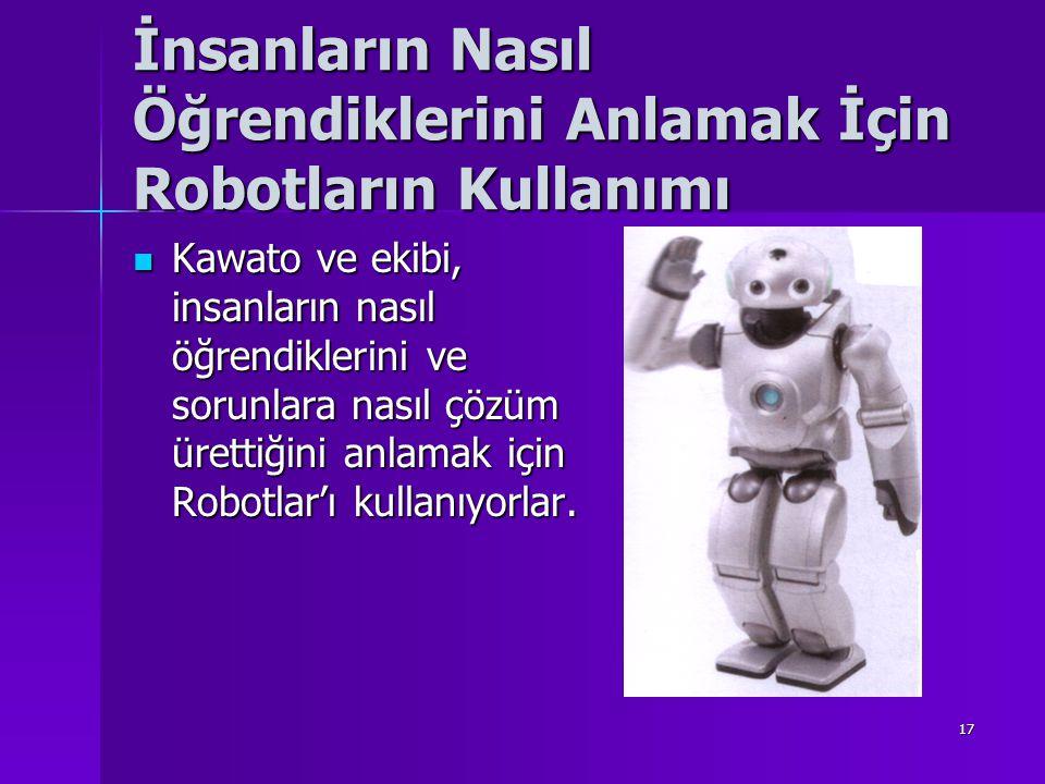 17 İnsanların Nasıl Öğrendiklerini Anlamak İçin Robotların Kullanımı Kawato ve ekibi, insanların nasıl öğrendiklerini ve sorunlara nasıl çözüm ürettiğini anlamak için Robotlar'ı kullanıyorlar.