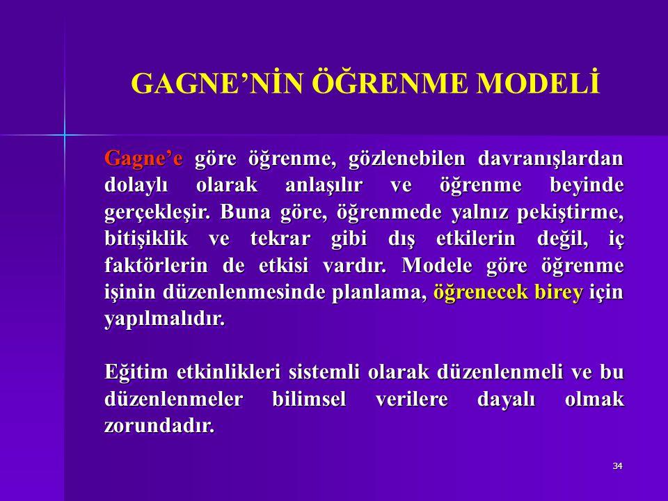 34 Gagne'e göre öğrenme, gözlenebilen davranışlardan dolaylı olarak anlaşılır ve öğrenme beyinde gerçekleşir.