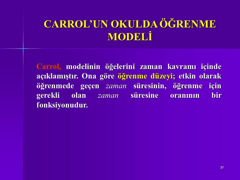 37 Carrol, modelinin öğelerini zaman kavramı içinde açıklamıştır.