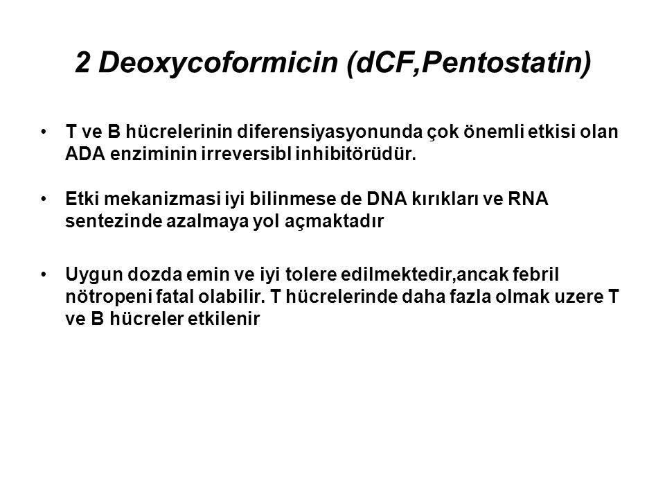 2 Deoxycoformicin (dCF,Pentostatin) Çalışmalarda 2 Deoxycoformicin ile %59-%89 arasında değişen (ortalama %76) komplet remisyon; %7-%37 arasında değişen (ortalama %13)parsiyel remisyon oranlari bildirilmiş Splenektomiden sonra nüks eden veya IFN dirençli vakalar da 2 DCF'ye yanıt verir(CR %33-%42; PR %42-%45) Tam remisyon için ortalama 4ay süre geçmesi gereklidir.Anacak tam remisyon morfolojik anlamda olup kemik iliğinde immünohistokimyasal olarak az sayıda da olsa tüylü hücrelerin kaldığı saptanır (MRD)