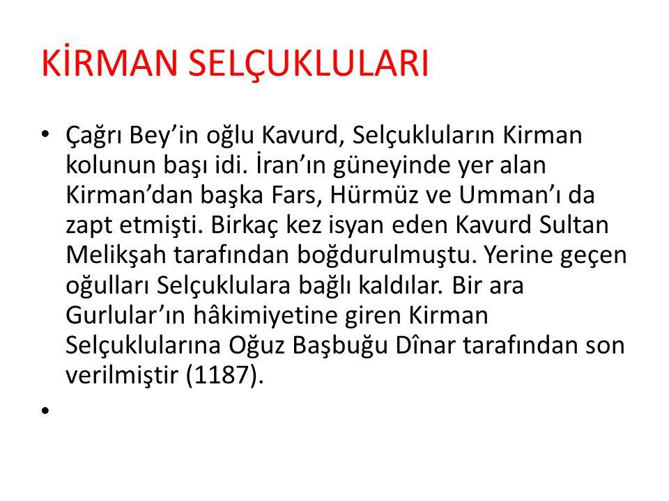 SURİYE SELÇUKLULARI 1077 yılından beri Suriye Selçuklu meliki olan Tutuş, kendini sultan ilân ederek, Berkyaruk'un üzerine yürümüş, fakat yenilmişti (1095).