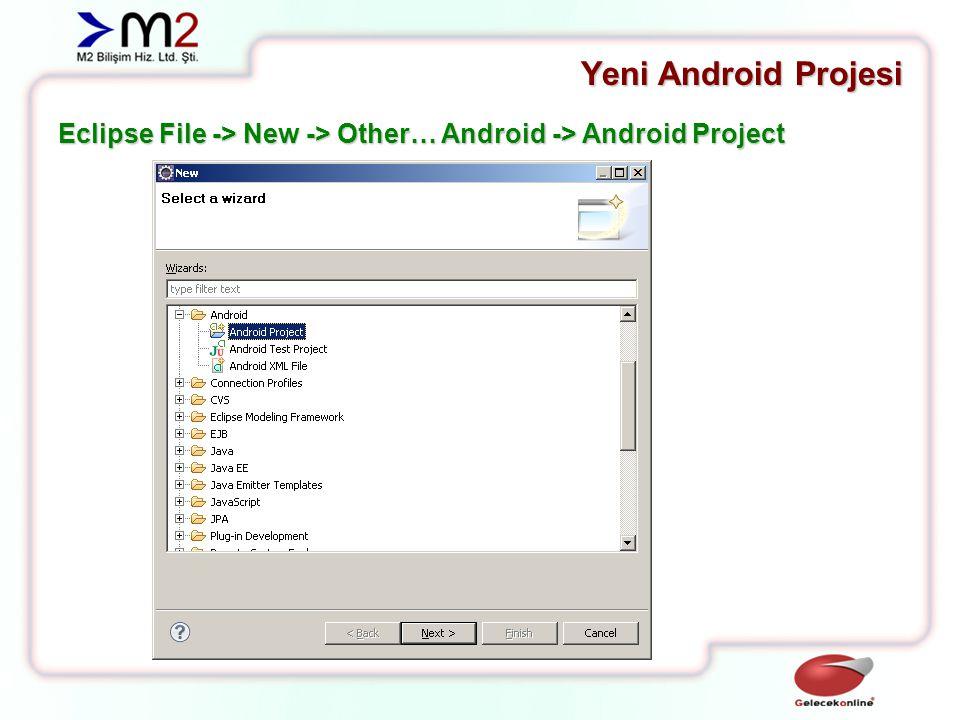 Yeni Android Projesi Önceki versiyonlarda tek sayfada gerçekleşen proje oluşturma süreci sihirbaz halinde sayfalara bölünmüştür.
