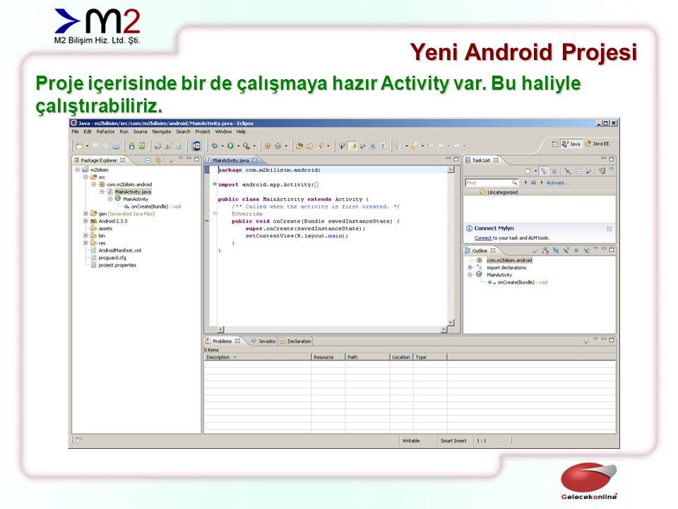 Yeni Android Projesi Proje üzerinde sağ tuş -> Run As -> Android Application