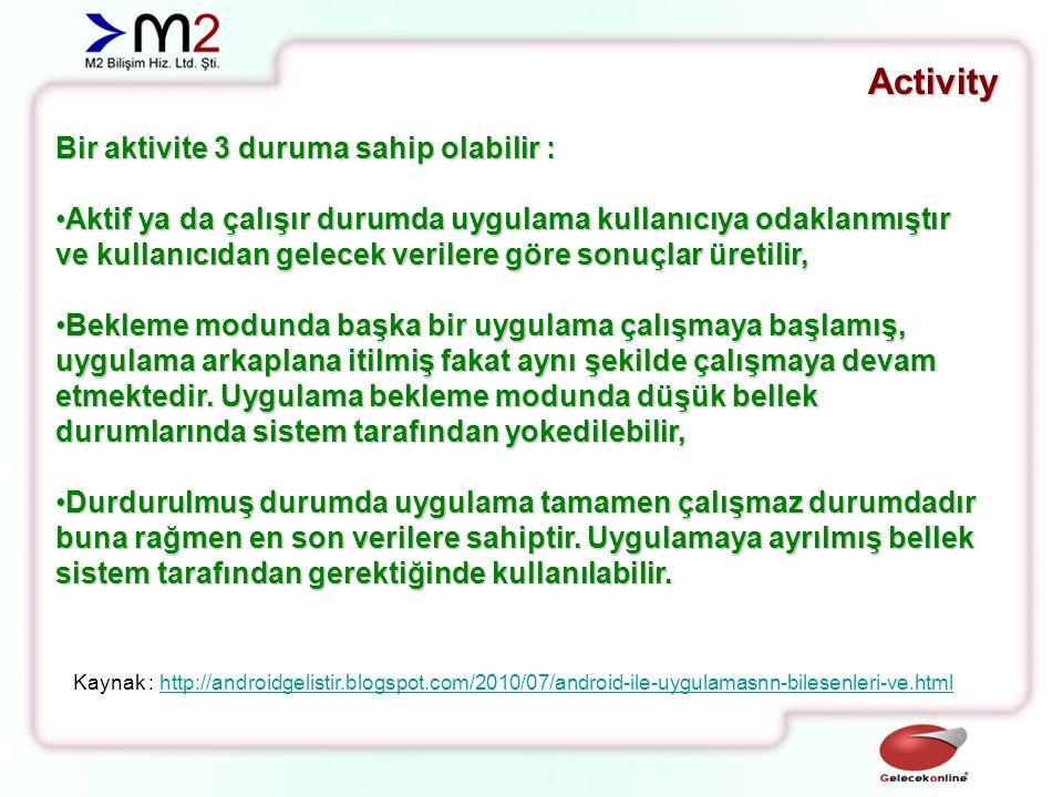 Activity Aktivite bir durumdan diğer duruma geçerken aşağıdaki metodları çalıştırır.