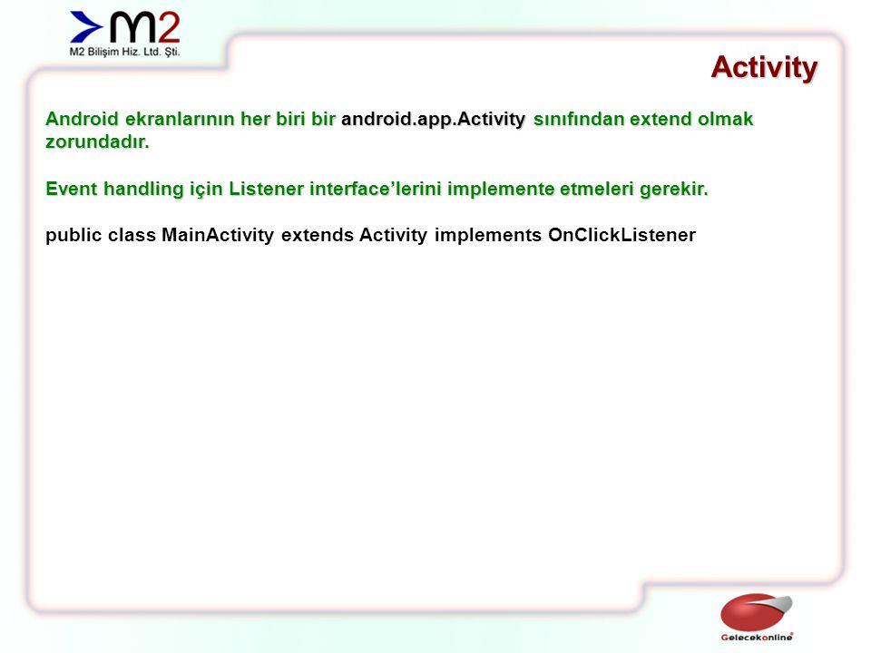 Activity Android ekranlarının her biri için layout tanımlamak gerekir.
