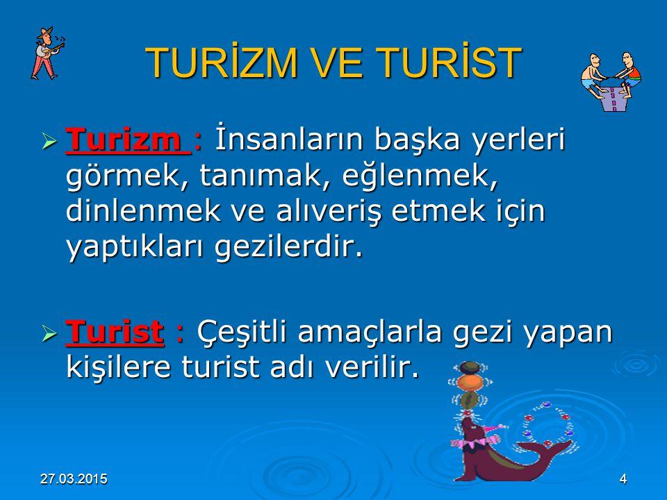 27.03.20155 İÇ VE DIŞ TURİZM iç ve dış turizm  Turizm; iç ve dış turizm olarak ikiye ayrılır.