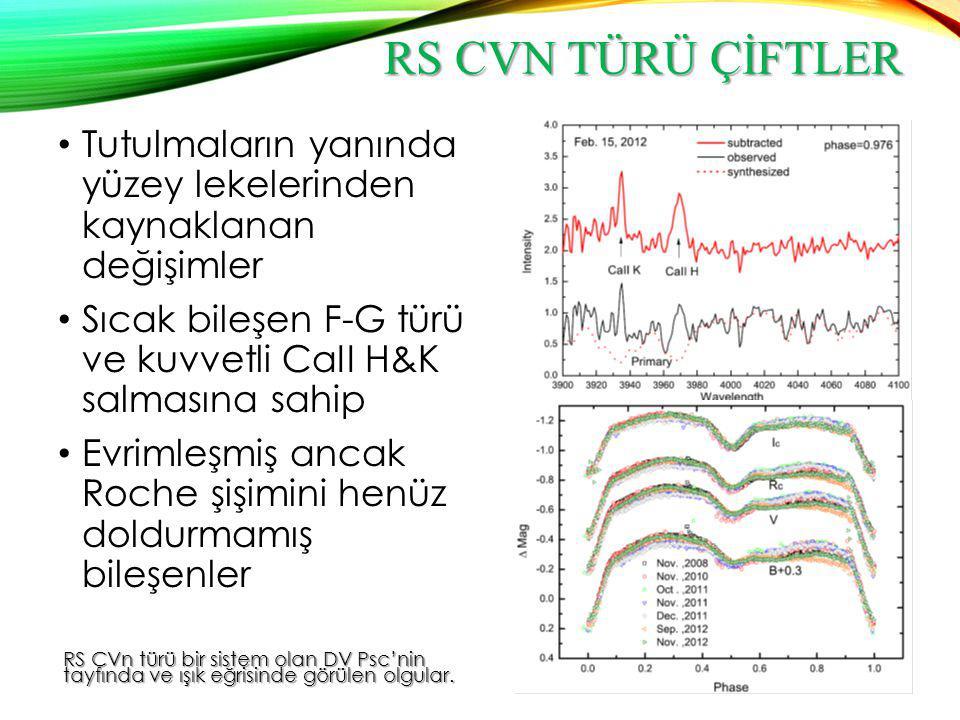 RS CVN TÜRÜ ÇİFTLER Kromosferik etkinlikten kaynaklanan; Yoğun koronal X-ışın yayımı Kuvvetli UV salma çizgileri Kuvvetli rüzgarlarla kütle kaybı Işık eğrilerinde leke kökenli modülasyonlar  Lekeli yıldızın tam olarak eş dönmeye sahip olmaması ve dolayısıyla leke kökenli dalganın döneminin yörünge döneminden farklı olmasından kaynaklanır.