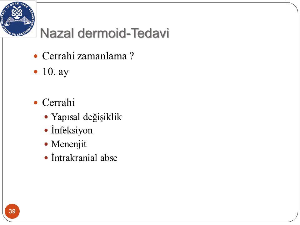 Nazal dermoid-cerrahi yaklaşım 40 Pollack cerrahi yaklaşım için 4 kriter öneriyor Orta hat kitlesine iyi ulaşım sağlamalı Kafa tabanına iyi ulaşım sağlamalı Nazal dorsum rekonstrüksiyonu izin verebilmeli Kabul edilebilir skar