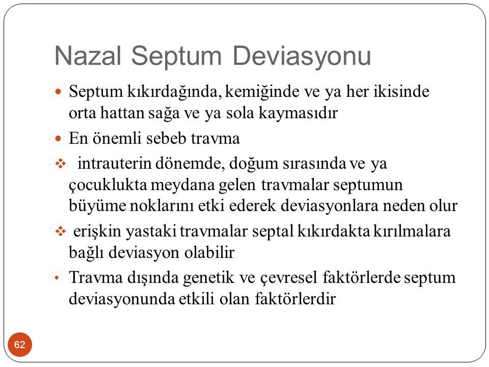 Nazal Septum Deviasyonu-Belirtiler 63 Burun tıkanıklığı Mukoza kuruluğu, kabuklanma ve ülserasyon Sinüzit Kronik orta kulak iltihabı Kontakt baş ağrısı