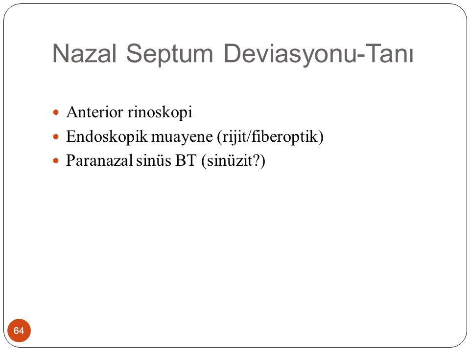 Nazal Septum Deviasyonu-Tedavi 65 Cerrahi Submukozal rezeksiyon Septoplasti