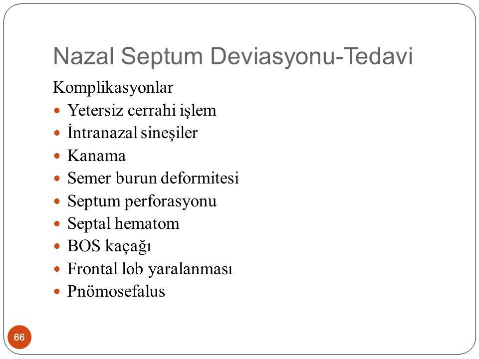 Septal Hematom 67 Travmatik veya cerrahi yaklaşımlar sonucu görülür Nazal septum mukozası hasar görmeksizin submukozal vasküler alanda yırtılmalara bağlı olarak subperikondrial alanda kan toplanması