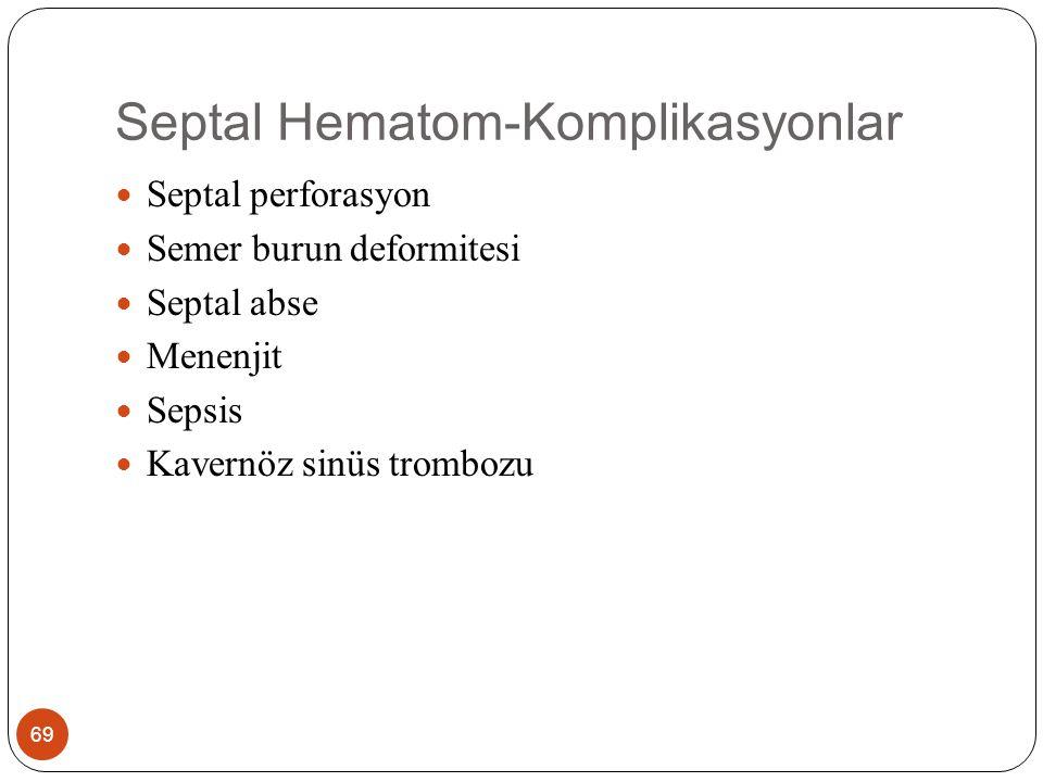 Septal Hematom 70 3 günden uzun süren hematomlarda kondrositlerin ölümüne bağlı kıkırdak nekrozu gelişir Bu yüzden erken hematom drenajı önemlidir.