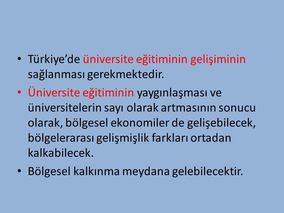 Türkiye'nin genç nüfusu dikkate alındığında üniversite eğitimine yönelik talebin kısmen yetersiz olduğu ve üniversite eğitimine olan talepteki artışın sürdürülebilmesi gerekliliği muhakkaktır.