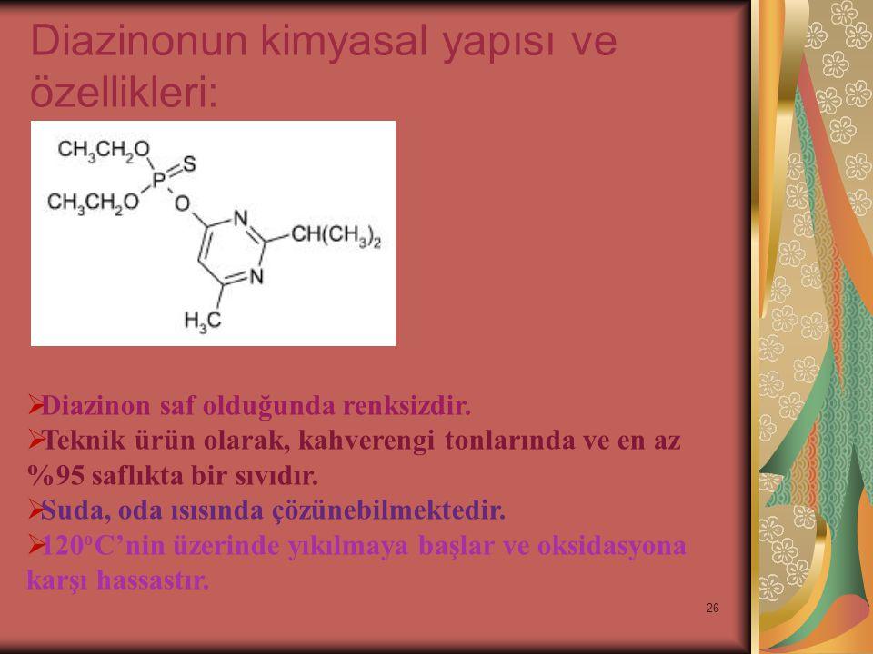 27  Suda ve dilüe asidik ortamda yavaş bir şekilde hidrolize olur ancak bazik ortamda stabildir.