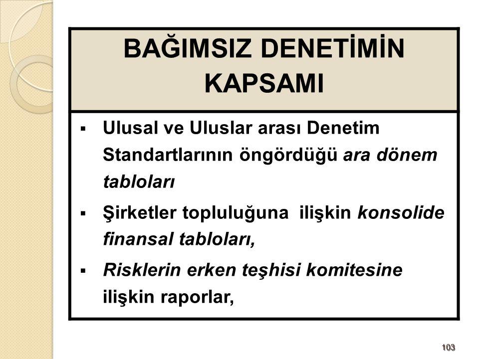 104104 BAĞIMSIZ DENETİMİN KAPSAMI Uluslararası Denetim Standartları ile Uyumlu Türkiye Denetim Standartları'na göre denetlenir.