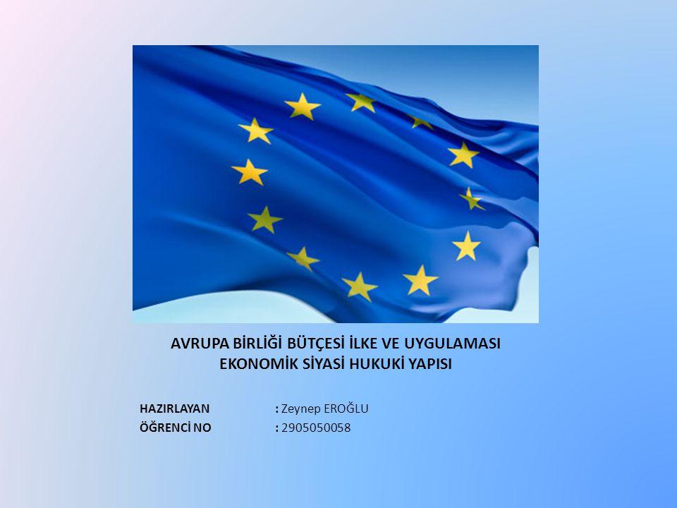 Avrupa Birliği Bütçesi : Bütçe gelirleri esas olarak 4 kalemden oluşmaktadır: Üye olmayan ülkelerden ithal edilen tarım ürünlerinden alınan vergiler Üye olmayan ülkelerle ticarette Ortak Gümrük Tarifesi'nin (OGT) uygulaması sonucu elde edilen gümrük vergileri Üye ülkelerin topladıkları KDV vergilerinin % 1 oranındaki bölümü Üye ülkelerin GSMH'na göre belirlenen bütçe katkı payları Avrupa Birliği bütçesi, Birlik çerçevesinde üye ülkeler tarafından ortaklasa belirlenen siyasi ve ekonomik hedefleri gerçekleştirmek üzere kullanılan en etkili araçlardan biridir.