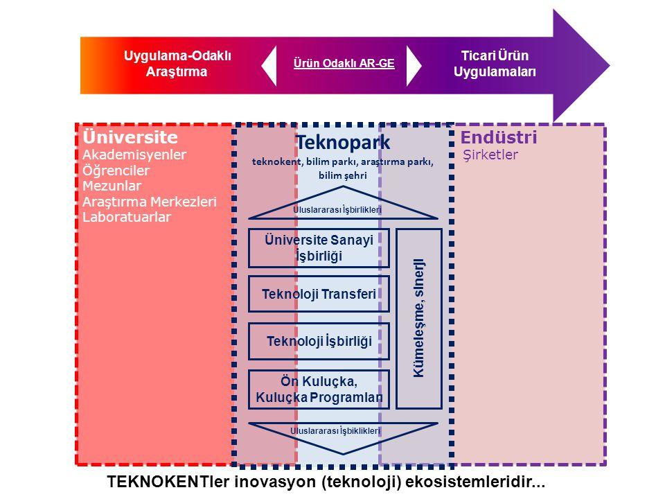 TEKNOKENTÜniversite TTO Patentleme, Ticarileştirme Ön Kuluçka / Kuluçka Programları YFYİ, ATOM, TEKMER, Teknogirişim Kuluçka Merkezi Accelerator Seçilmiş firmaların uluslararsı başarılı olmaları için desteklenmesi GİMER Girişimcilik faaliyetleri TEKNO GİRİŞİMCİLİK Üniversite-Sanayi işbirliği BÖLÜMLER LABORATUARLAR Firmalar arası İşbirlikler Kümeleşme-sinerji Uluslararası İşbirlikler Offset, EEN, URGE, Liason Ofisler, yurt dışında yeni teknopark kurma çalışmaları ULUSLARARASILAŞMA ARAŞTIRMA MERKEZLERİ TOPLULUKLAR MEZUNLAR-ÖĞRENCİLER-AKADEMİSYENLER
