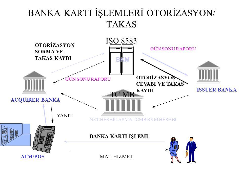 BANKA KARTI TAKAS/HESAPLAŞMA ISO 8583 single mesaj ile aynı anda takas ve hesaplaşma kaydı yaratılır ATM ve POS Banka Kartı İşlemleri Hesaplaşma, rapor tarihinde TCMB BKM Banka Kartı Hesabı üzerinden net olarak yapılır