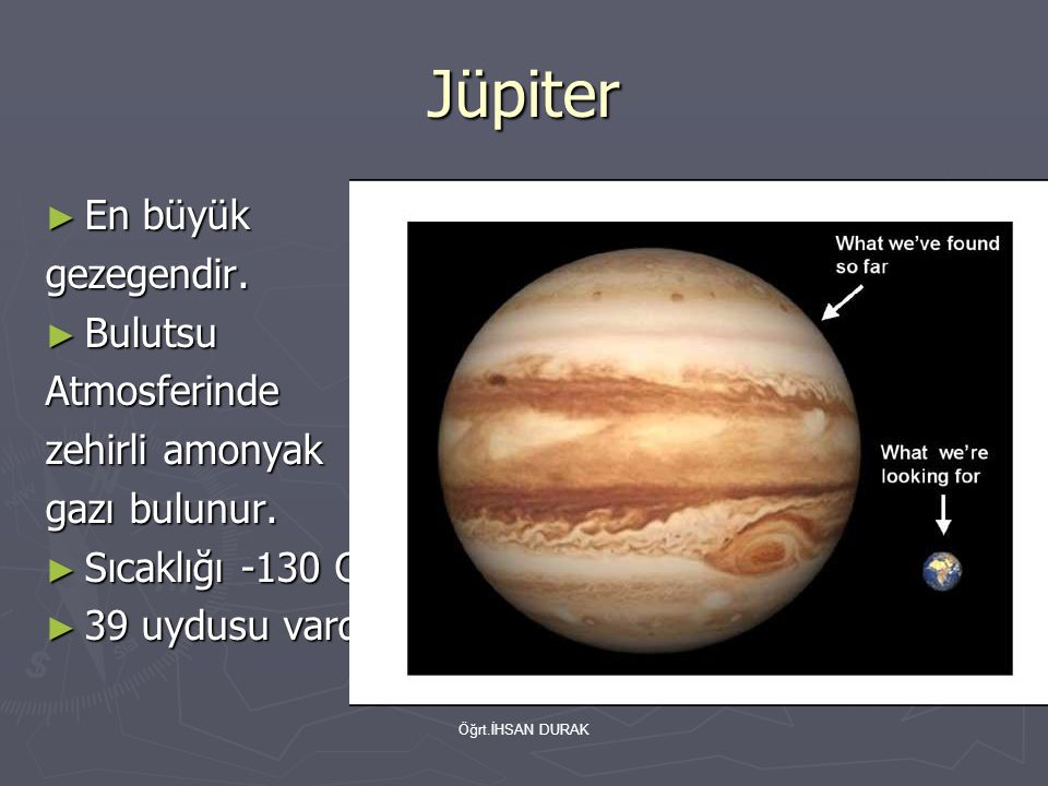 Öğrt.İHSAN DURAK Satürn ► İkinci büyük gezegendir.
