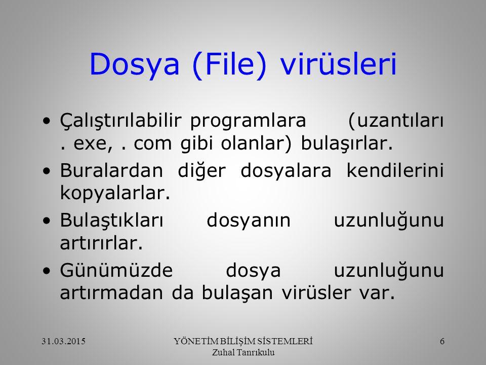 Dosya (File) virüsleri Virüs eklentisi genellikle dosyanın sonunda ve nadiren de ortasında olur.