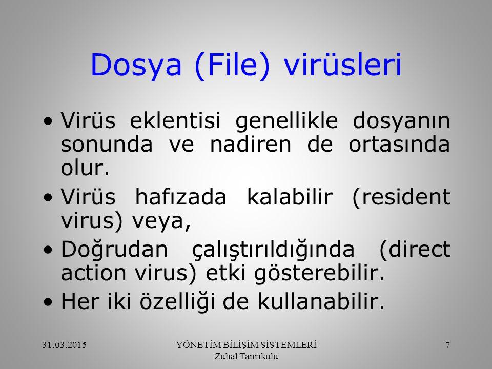 Trojan lar (Truva Atları) Diğer virüslerden farklıdırlar.