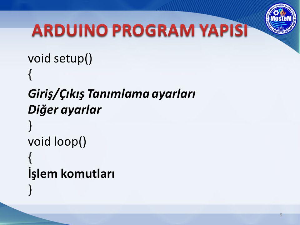 9 void setup() { pinMode(13,OUTPUT); } void loop() { digitalWrite(13,HIGH); delay(1000); digitalWrite(13,LOW); delay(1000); }