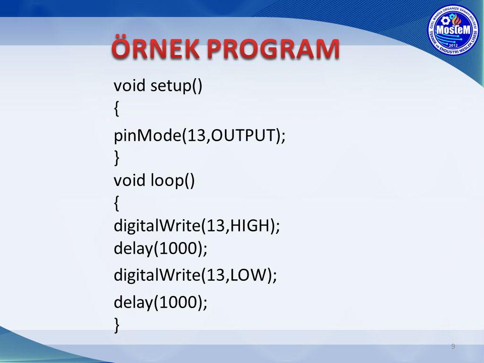 10 Örnek programda void setup() bölümünde 13 nolu pin çıkış olarak tanımlanmıştır.