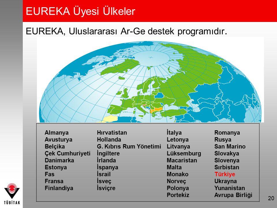 EUREKA'nın Avantajları 21 Hızlı destek, Ar-Ge projeleri için en yüksek oranda hibe desteği, Pazara yakın Ar-Ge, Ulusal kurallarla uluslararası boyutta Ar-Ge yapma, Yeni teknolojilere kolay ve hızlı erişim Alanında lider firmalarla çalışma Yeni pazarlara açılma