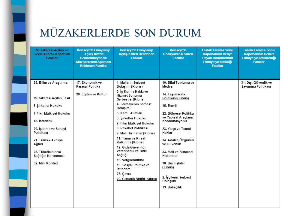 30 Ek Protokol Şartı Komisyonun önerisi üzerine Ek Protokolün tam olarak uygulanması şartına bağlı olarak müzakereleri açılmayacak fasıllar; (11 Aralık 2006 GİDİK Kararı) 1- Malların Serbest Dolaşımı 2- Gümrük Birliği 3- Balıkçılık 4- Taşımacılık 5- Dış İlişkiler 6- İş Kurma Hakkı ve Hizmet Sunumu Serbestisi 7- Mali Hizmetler 8- Tarım ve Kırsal Kalkınma Ek protokolün uygulanması tüm fasıllar için kapanış kriteridir.