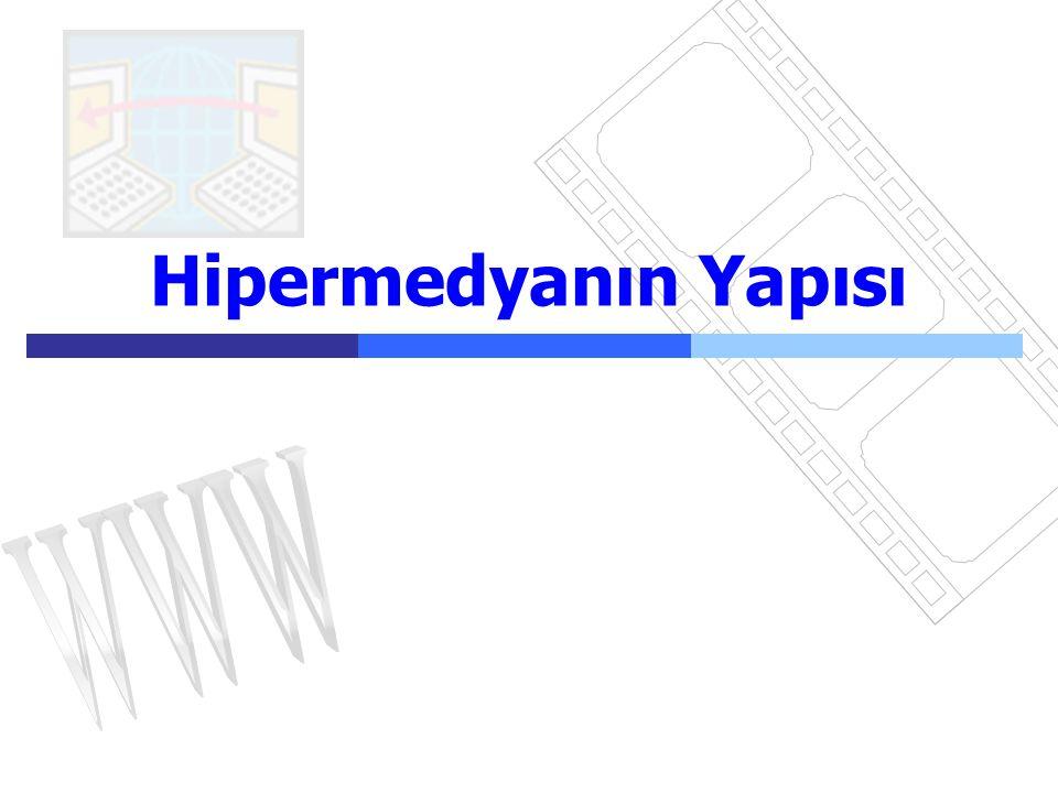 Hipermedya13  Bir hipermedya programının yapısı her birinde diğer nesne ve sayfalara bağlanan çeşitli nesnelerin (metin, resim, ses) yer aldığı çeşitli sayfalar içerir.