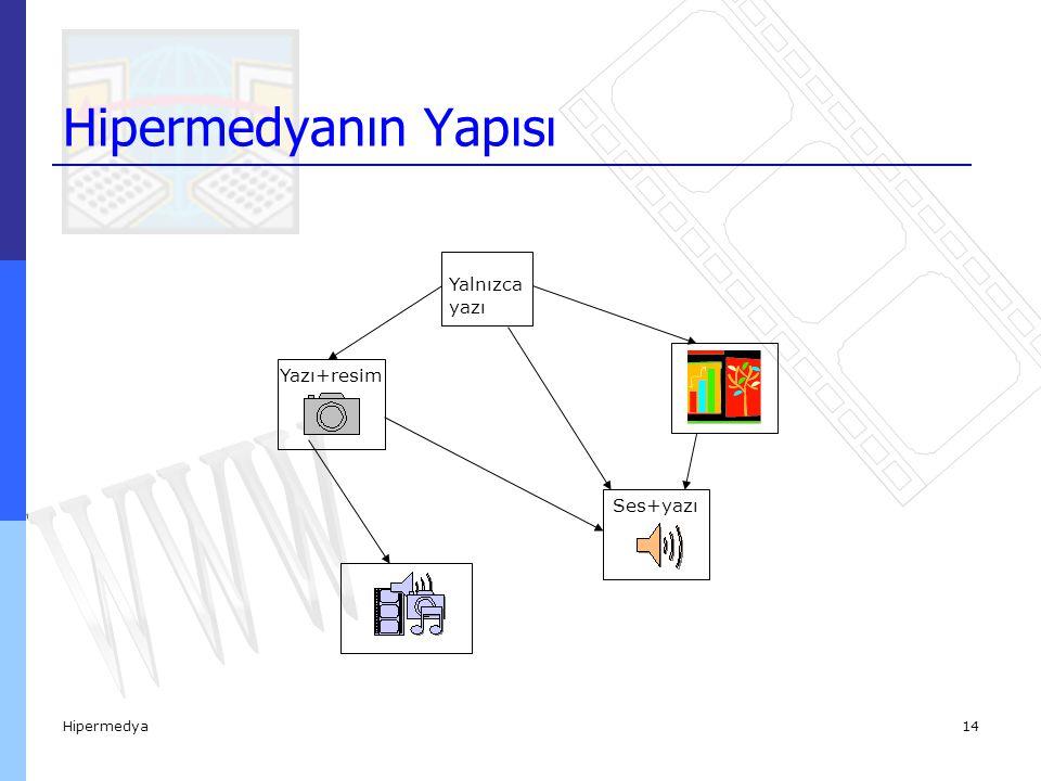 Hipermedya15  Bir hipermedya programı sıralı sayfalar şeklinde geleneksel örgütlemeler içermez.