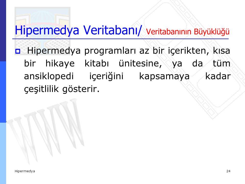 Hipermedya25 Hipermedya Veritabanı/ Veritabanının Organizasyonu  Veritabanı çeşitli yollarla organize edilebilir; alfabetik olarak, hiyerarşik olarak ya da zamana bağlı.