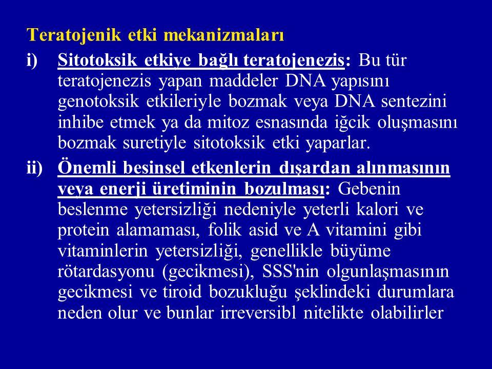 iii)Uteroplasental kan akımının azaltılması: Deney hayvanlarında vazokonstriktör ilaçların, plasentaya gelen maternal kan akımını azaltmak ve ayrıca fötal kan akımını bozmak suretiyle embriyoletalite, malformasyon ve büyüme rötardasyonu yaptığı görülmüştür.