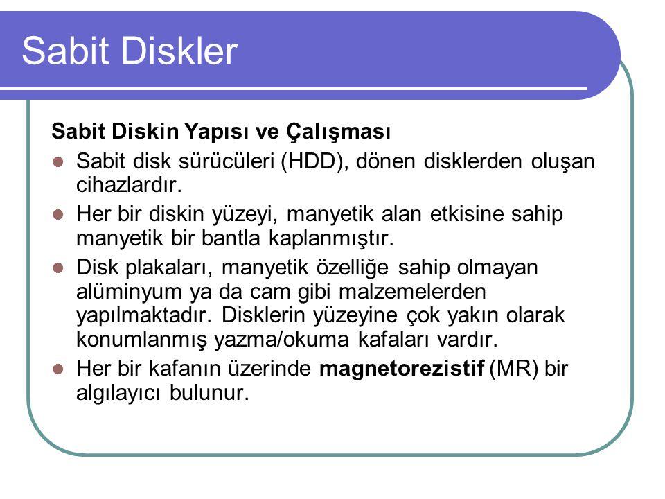 Sabit Diskler Harddisklerde sabit hızda dönen disklerin bağlı olduğu bir iğne bulunur.