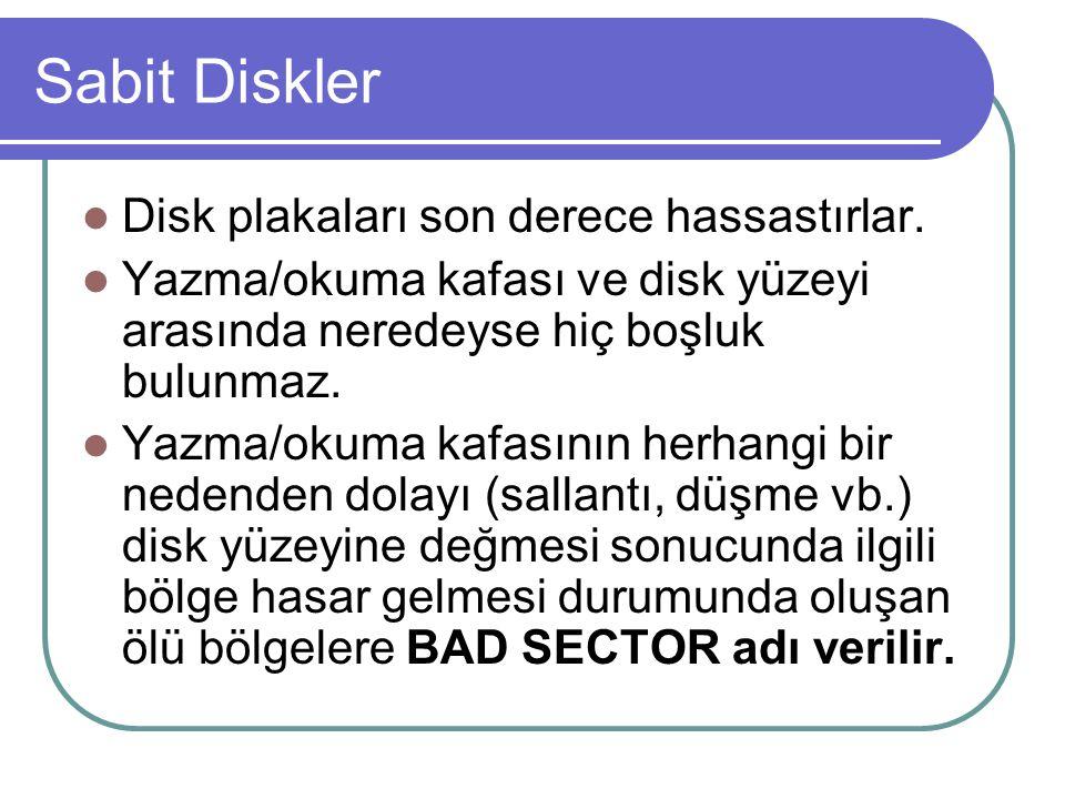 Sabit Diskler Formatlama; Bir sabit diskin üzerine yazılacak bilgilerin nereye ve hangi standartlara göre yazılacağının belirtilmesi demektir.