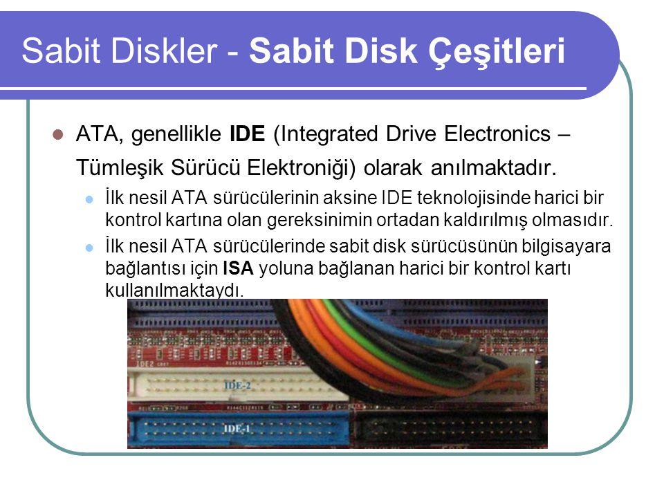 Sabit Diskler - Sabit Disk Çeşitleri 1994 yılında, EIDE (Enhanced IDE) standardı ortaya çıktı.