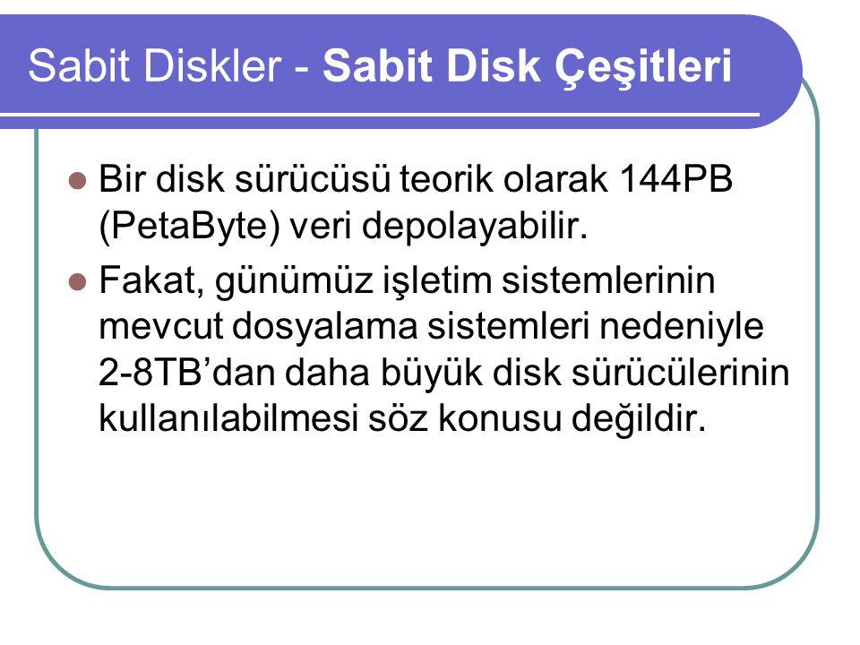 Sabit Diskler - Sabit Disk Çeşitleri Standart ATA disk sürücülerinin paralel kabloları 40 tellidir.