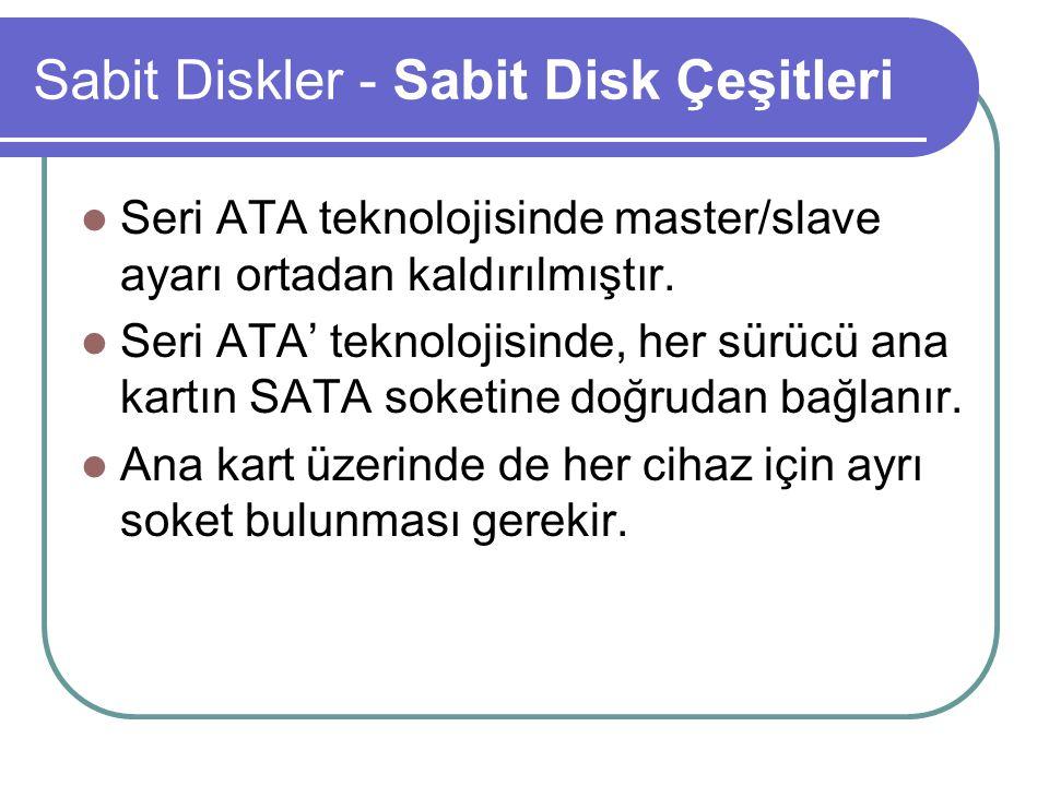 Sabit Diskler - Sabit Disk Çeşitleri