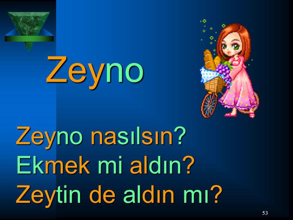 53 Zeyno Zeyno nasılsın? Ekmek mi aldın? Zeytin de aldın mı?