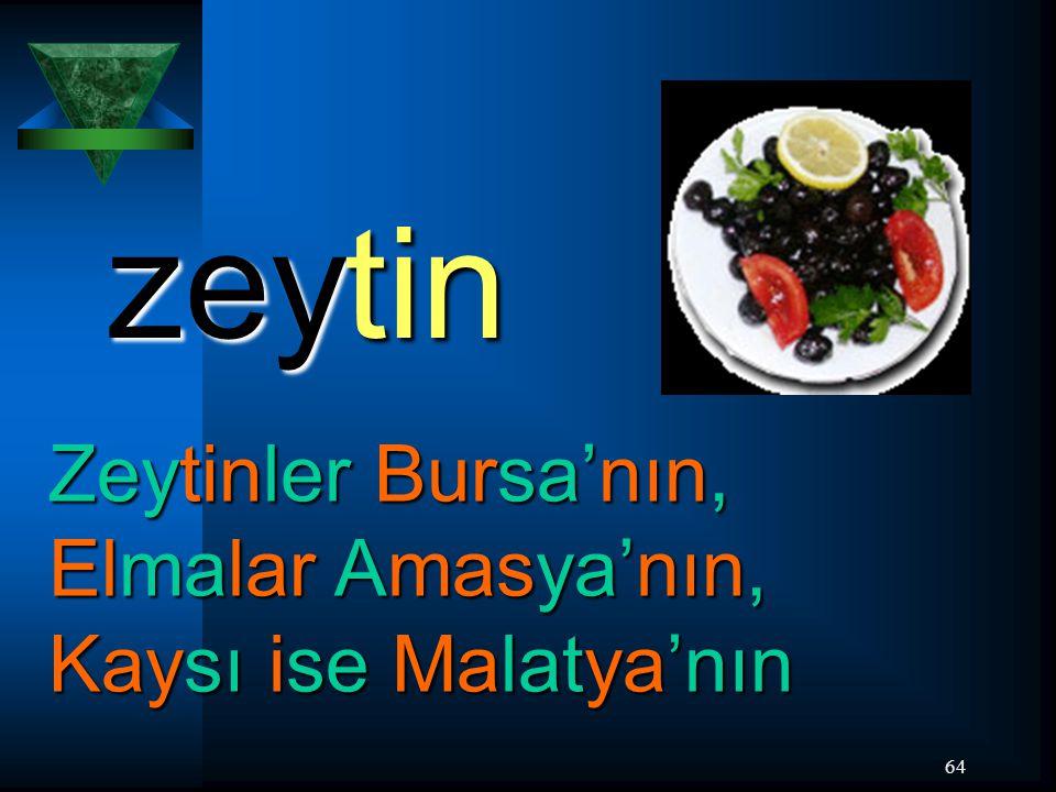 64 zeytin Zeytinler Bursa'nın, Elmalar Amasya'nın, Kaysı ise Malatya'nın