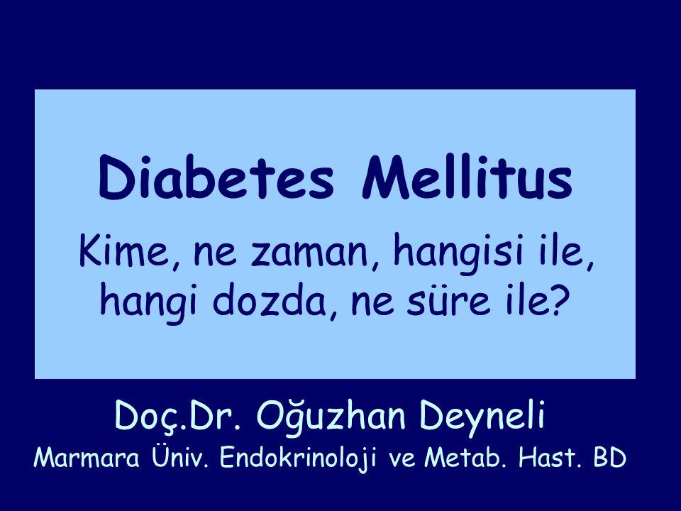Diabetes Mellitus Epidemiyoloji, toplumsal önemi Glisemik hedefler Tip 2 DM Tip 2 DM Tedavisi (Oral ajanlar) Biguanides Thiazolidinediones İnsülin sekresyonunu arttıran ilaçlar Alfa-Glucosidase Inhibitors GLP-1'e dayalı tedavi modelleri İnsülin tedavisi ADA/EASD ve TEMD tedavi algoritması Özet