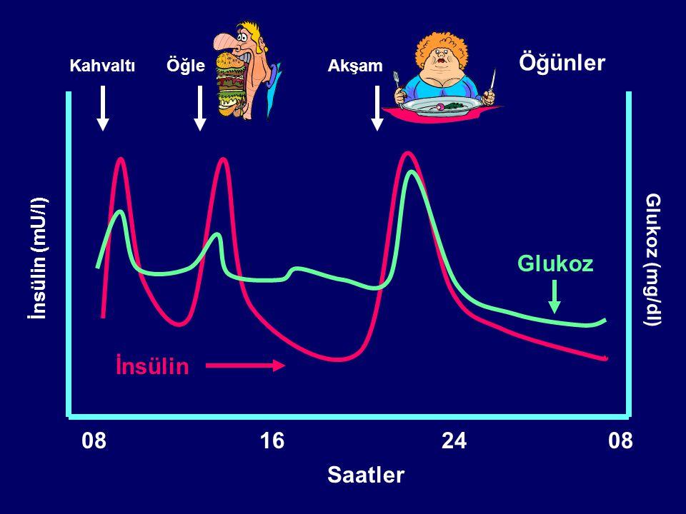 İnsülin tipiJenerik adıPiyasa adı Etki başlangıcı Pik etki Etki süresi Kısa etkili (Human regüler) Kristalize insan insülin Actrapid HM 30-60 dk2-4 st5-8 st Humulin R Hızlı etkili (Prandiyal analog) Glulisin insülin Apidra 15 dk30-90 dk3-5 st Lispro insülin Humalog Aspart insülin NovoRapid Orta etkili (Human NPH) NPH insan insülin Humulin N 1-3 st8 st12-16 st İnsulatard HM