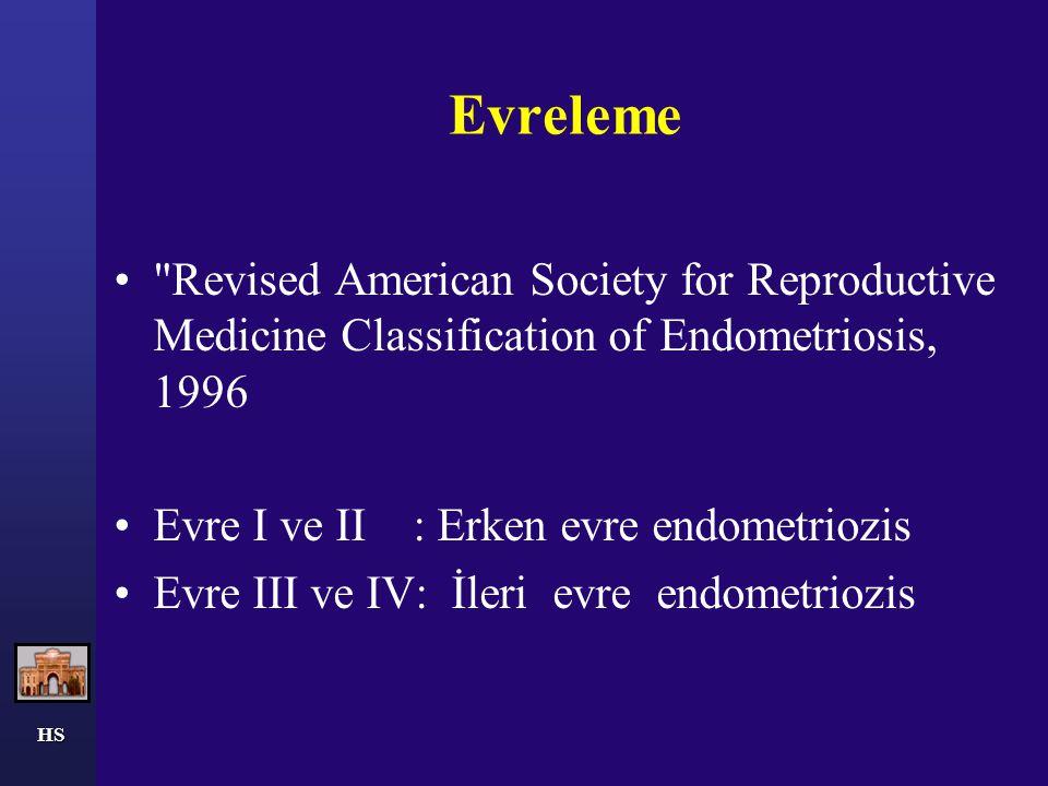 HS Evre I – Minimal Az veya süperfisiyel implantlar Evre II – Hafif Fazla implantlar veya derin tutulum Evre III – Orta Fazla implantlar, Over tutulumu, adhezyon Evre IV - Ağır Evre lll gibi ancak mültipl implantlar ve derin, sıkı tutulum