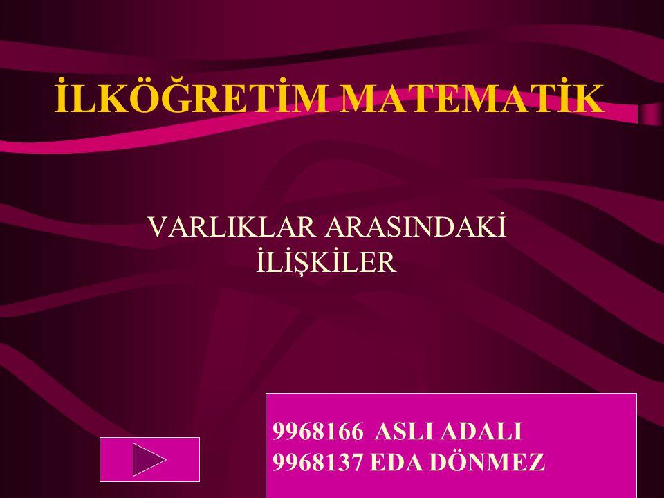 İLKÖĞRETİM MATEMATİK VARLIKLAR ARASINDAKİ İLİŞKİLER 9968166 ASLI ADALI 9968137 EDA DÖNMEZ