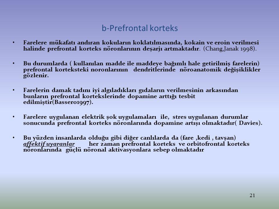 Orbitofrontal ve Prefrontal nöronların kaybı Prefrontal hücrelerin kaybı sonucunda emosyonel deneyimler ve cevaplarda azalma olmaktadır.