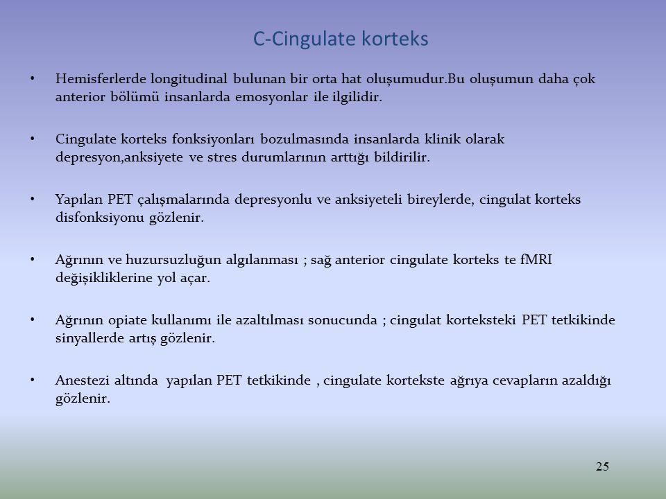 Cingulat korteks fonksiyonu Cingulat korteks lezyonlarında depresyon ve obsesife kompulsif bozukluk sık görülür ( Hay et al 1993).