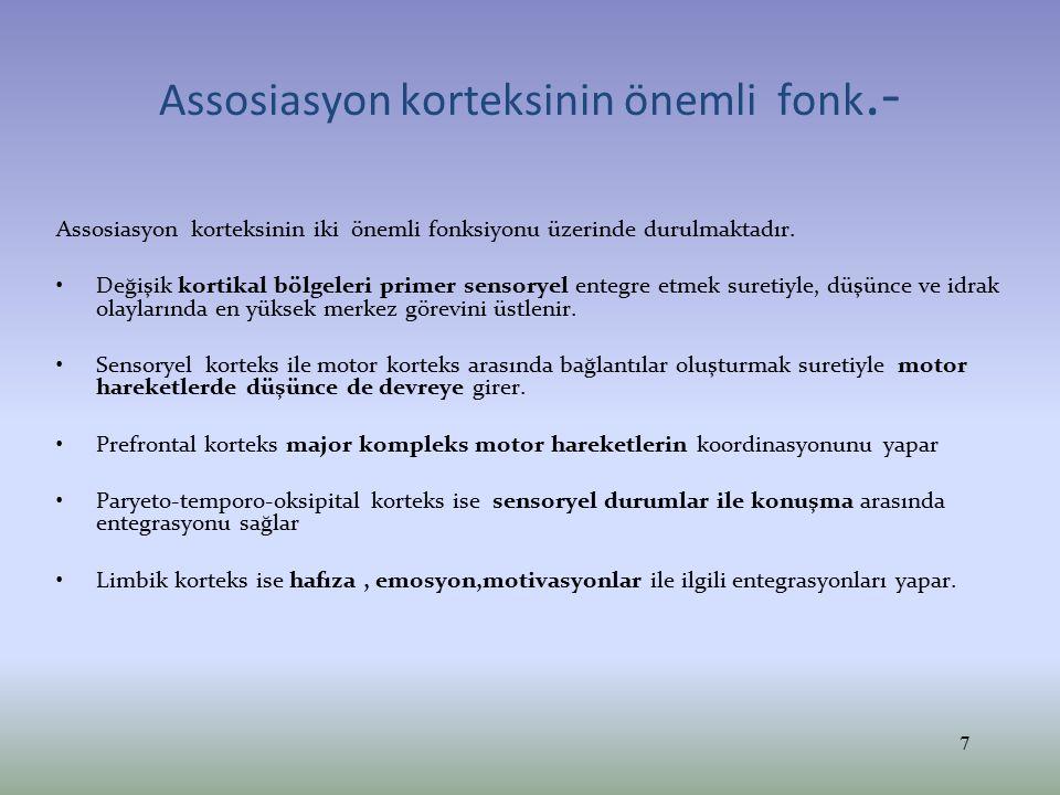 Assosiyasyon alanlarının bağlantıları- Frontal lobun önü PREMOTOR ALAN ve PREFRONTAL ASOİASYON KORTEKSİ olarak ikiye bölünür.
