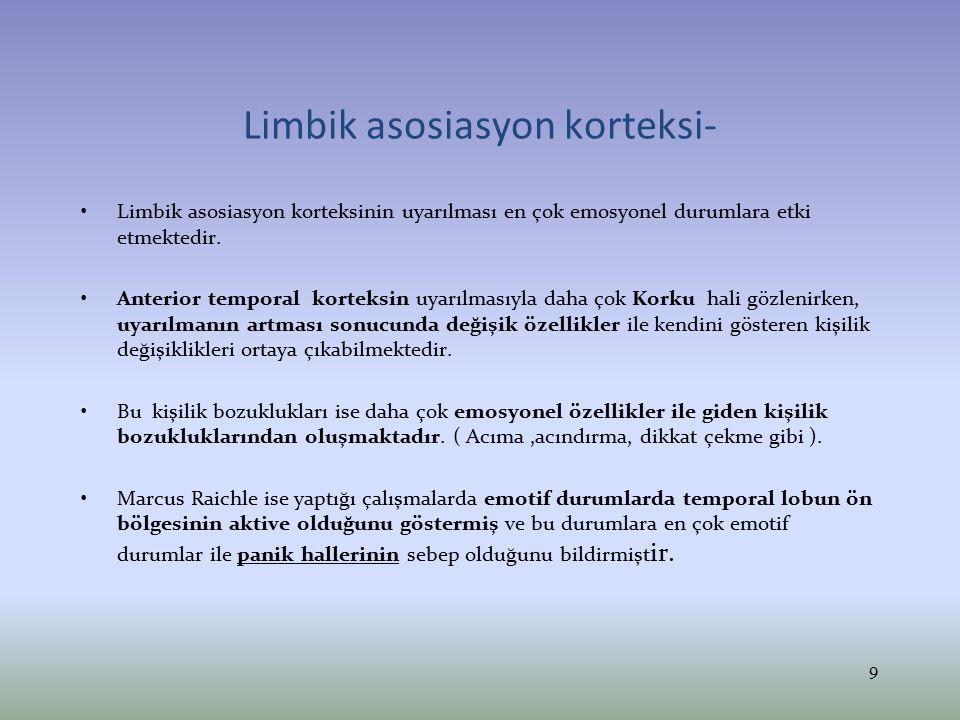 Paryetal lob asosiasyon alanları- Anterior paryetal lob PRİMER SOMATİK SENSORYEL KORTEKS'i oluşturmaktadır.