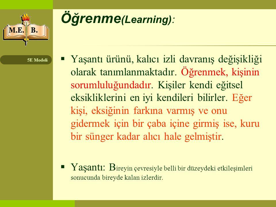 5E Modeli Öğretme (teaching):  Öğrenmeyi sağlama ve rehberlik etme etkinliğidir.